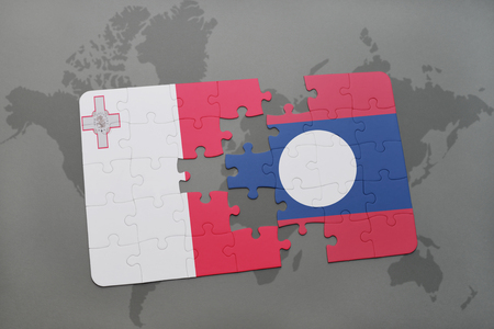 puzzle with the national flag of malta and laos on a world map background. 3D illustration Stock Photo