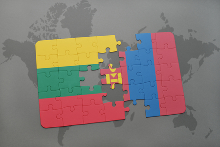mongolia: puzzle with the national flag of lithuania and mongolia on a world map background. 3D illustration Stock Photo