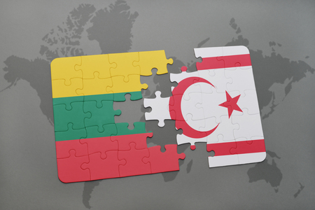 puzzle with the national flag of lithuania and northern cyprus on a world map background. 3D illustration