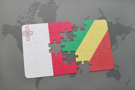 puzzle with the national flag of malta and republic of the congo on a world map background. 3D illustration Stock Photo