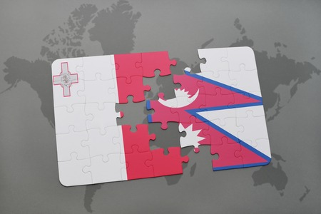 puzzle with the national flag of malta and nepal on a world map background. 3D illustration