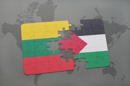 puzzle with the national flag of lithuania and palestine on a world map background. 3D illustration