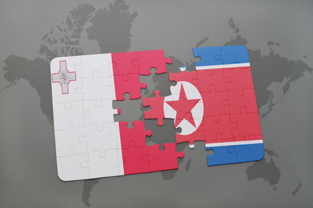 puzzle with the national flag of malta and north korea on a world map background. 3D illustration