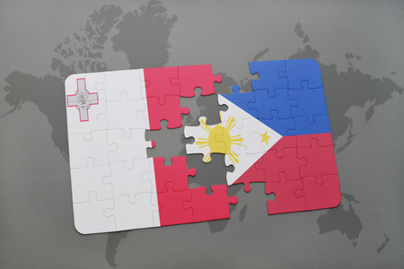 puzzle with the national flag of malta and philippines on a world map background. 3D illustration