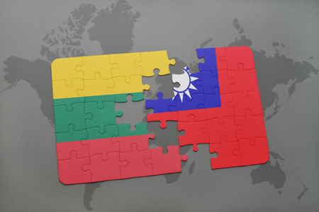puzzle with the national flag of lithuania and taiwan on a world map background. 3D illustration Stok Fotoğraf