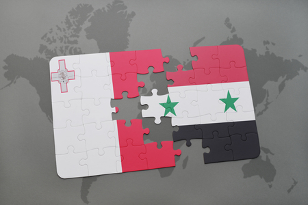 puzzle with the national flag of malta and syria on a world map background. 3D illustration