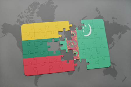 puzzle with the national flag of lithuania and turkmenistan on a world map background. 3D illustration