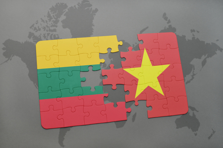 puzzle with the national flag of lithuania and vietnam on a world map background. 3D illustration