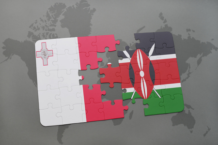 puzzle with the national flag of malta and kenya on a world map background. 3D illustration