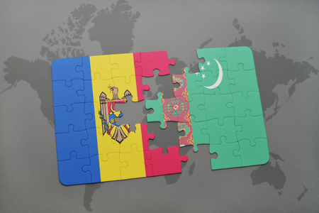 puzzle with the national flag of moldova and turkmenistan on a world map background. 3D illustration Stock Illustration - 76300010