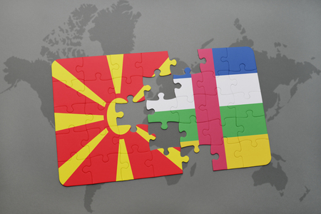 puzzle with the national flag of macedonia and central african republic on a world map background. 3D illustration