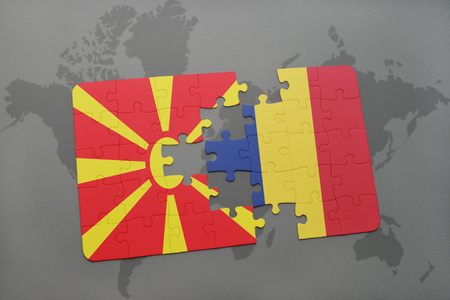 puzzle with the national flag of macedonia and chad on a world map background. 3D illustration Фото со стока