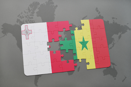 dakar: puzzle with the national flag of malta and senegal on a world map background. 3D illustration Stock Photo