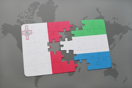 puzzle with the national flag of malta and sierra leone on a world map background. 3D illustration