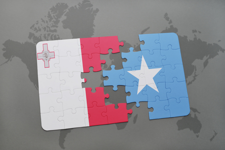 maltese map: puzzle with the national flag of malta and somalia on a world map background. 3D illustration