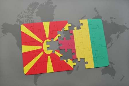 puzzle with the national flag of macedonia and guinea on a world map background. 3D illustration