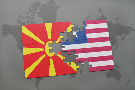 puzzle with the national flag of macedonia and liberia on a world map background. 3D illustration Stock Photo