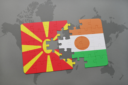 puzzle with the national flag of macedonia and niger on a world map background. 3D illustration