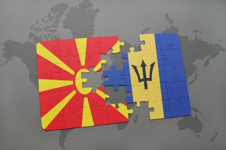 puzzle with the national flag of macedonia and barbados on a world map background. 3D illustration Stock Photo