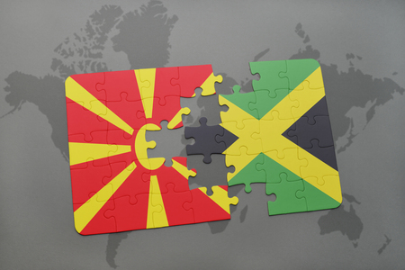 kingston: puzzle with the national flag of macedonia and jamaica on a world map background. 3D illustration