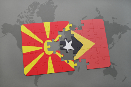 puzzle with the national flag of macedonia and east timor on a world map background. 3D illustration