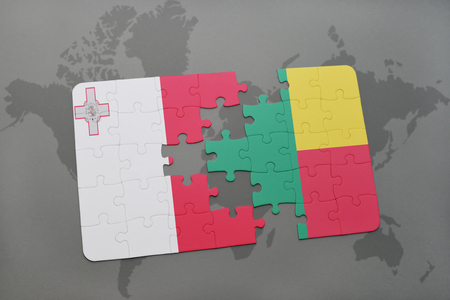 benin: puzzle with the national flag of malta and benin on a world map background. 3D illustration
