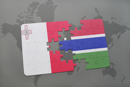 puzzle with the national flag of malta and gambia on a world map background. 3D illustration