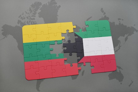puzzle with the national flag of lithuania and kuwait on a world map background. 3D illustration