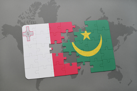 puzzle with the national flag of malta and mauritania on a world map background. 3D illustration