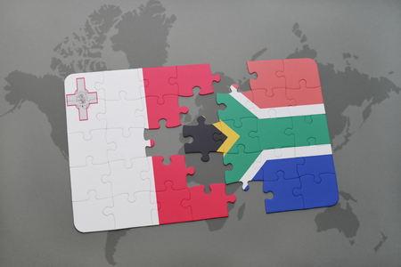 puzzle with the national flag of malta and south africa on a world map background. 3D illustration Stock Photo