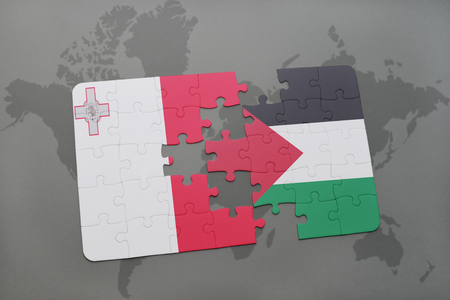maltese map: puzzle with the national flag of malta and palestine on a world map background. 3D illustration Stock Photo