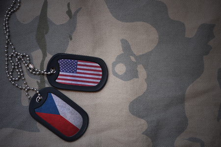 anti terrorist: army blank, dog tag with flag of united states of america and czech republic on the khaki texture background. military concept