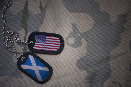 army blank, dog tag with flag of united states of america and scotland on the khaki texture background. military concept