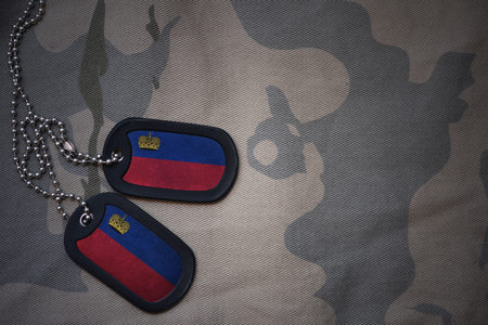 army blank, dog tag with flag of liechtenstein on the khaki texture background. military concept Stock Photo