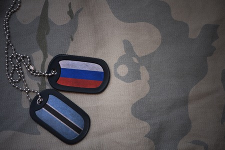 anti terrorist: army blank, dog tag with flag of russia and botswana on the khaki texture background. military concept Stock Photo