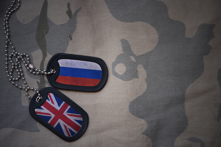 anti terrorist: army blank, dog tag with flag of russia and great britain on the khaki texture background. military concept Stock Photo