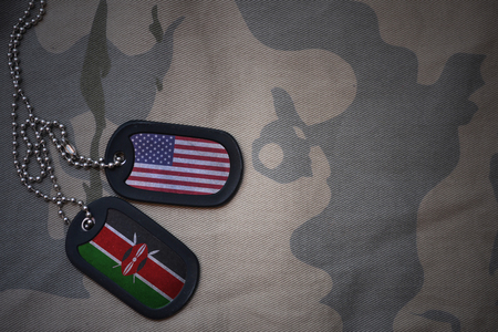 anti terrorist: army blank, dog tag with flag of united states of america and kenya on the khaki texture background. military concept