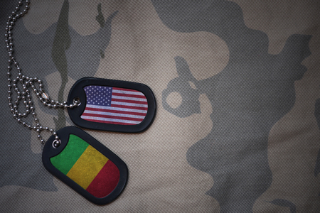 anti terrorist: army blank, dog tag with flag of united states of america and mali on the khaki texture background. military concept