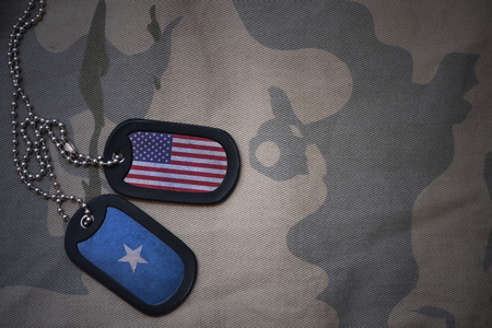 anti terrorist: army blank, dog tag with flag of united states of america and somalia on the khaki texture background. military concept