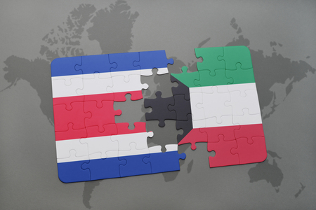 puzzle with the national flag of costa rica and kuwait on a world map background. 3D illustration