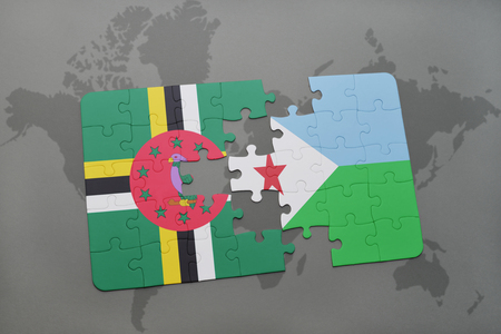puzzle with the national flag of dominica and djibouti on a world map background. 3D illustration