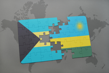 puzzle with the national flag of bahamas and rwanda on a world map background. 3D illustration