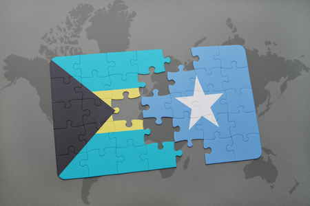 puzzle with the national flag of bahamas and somalia on a world map background. 3D illustration