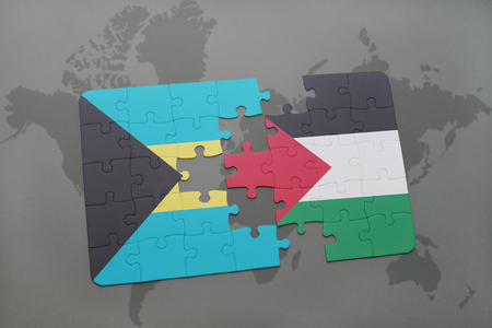 puzzle with the national flag of bahamas and palestine on a world map background. 3D illustration