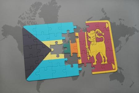 ceylon: puzzle with the national flag of bahamas and sri lanka on a world map background. 3D illustration