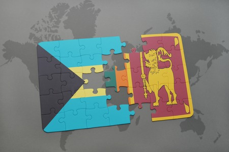 puzzle with the national flag of bahamas and sri lanka on a world map background. 3D illustration