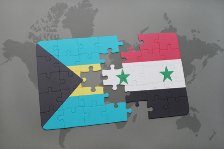puzzle with the national flag of bahamas and syria on a world map background. 3D illustration
