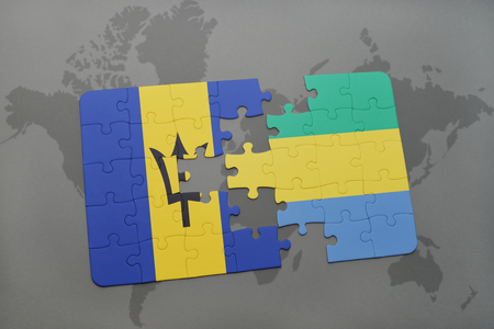 puzzle with the national flag of barbados and gabon on a world map background. 3D illustration