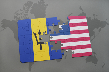 puzzle with the national flag of barbados and liberia on a world map background. 3D illustration
