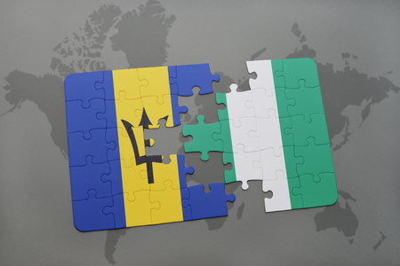 puzzle with the national flag of barbados and nigeria on a world map background. 3D illustration